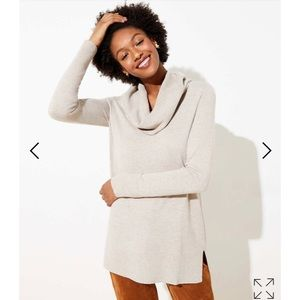 Petite Luxe Knit Cowl Neck Tunic Sweater
